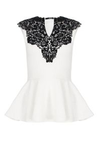 QUIZ Cream Lace Neck Peplum Top