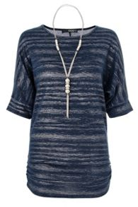 QUIZ Navy Light Knit Necklace Top
