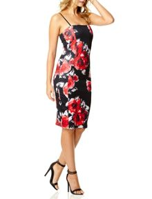 QUIZ -Black And Red Flower Print Dress