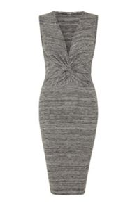 QUIZ - Grey Dye Knot Sleeveless Dress