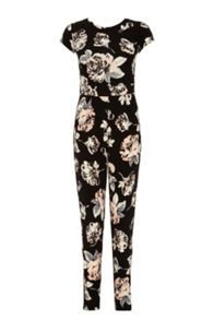 Black Crepe Flower Print Jumpsuit