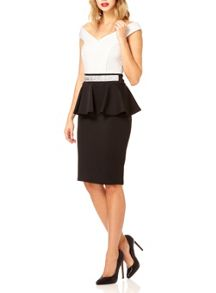 Quiz Cream and Black Bardot Peplum Dress