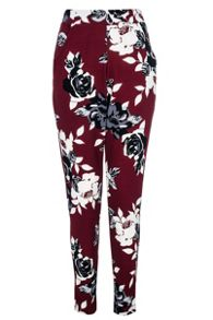 Berry Flower Print Crepe Trousers