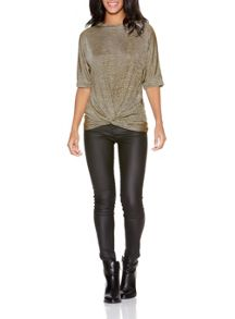Stone And Gold Glitter Batwing Top