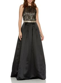 Black Lace Diamante Maxi Dress