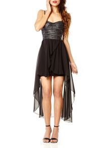 Black Dipped Hem Chiffon Dress