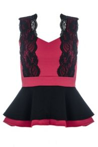 Berry Marcella Peplum Lace Top