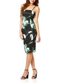 Black and Green Floral Print Dress