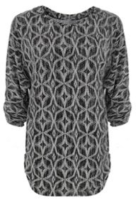 Quiz Black Diamond Print Ruched Top