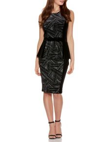 Quiz Black Velvet Glitter Peplum Dress