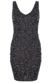 Black Sequin V Neck Bodycon Dress