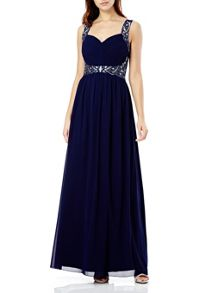 Quiz Navy Pleated Diamante Maxi Dress