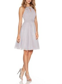 Quiz Light Grey Diamante Neck Dress