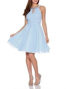 Quiz Pale Blue Diamante Neck Dress
