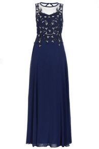 Quiz Navy Chiffon Lace Sequin Maxi Dress