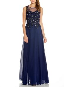 Navy Chiffon Lace Sequin Maxi Dress