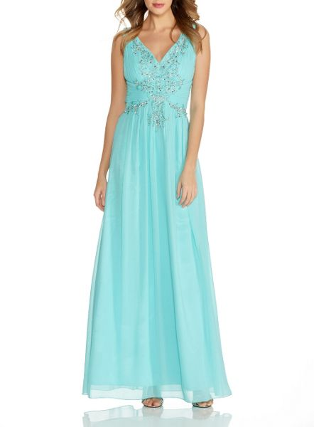 Quiz Aqua V Neck Embroidered Maxi Dress