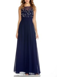 Navy Beaded Flower Maxi Dress