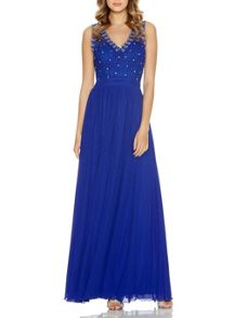 Royal Blue Mesh Beaded Maxi Dress