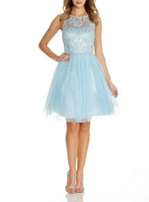 Quiz Blue Glitter Mesh Flower Prom Dress