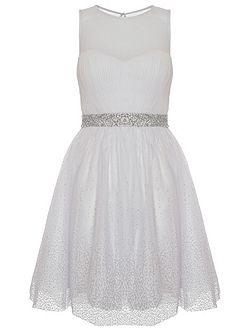 White Chiffon Glitter Prom Dress