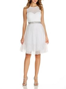 Quiz White Chiffon Glitter Prom Dress