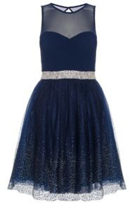 Quiz Navy Chiffon Glitter Prom Dress