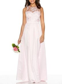 Quiz Pink Lace Satin Maxi Dress