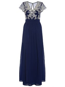Navy Embroidered V Neck Maxi Dress