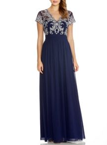 Quiz Navy Embroidered V Neck Maxi Dress