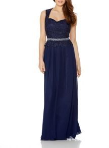 Quiz Navy Chiffon Lace Maxi Dress