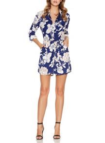 Blue Flower Print Button Playsuit