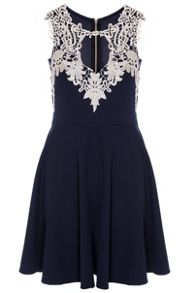 Quiz Navy Textured Crochet Neck Dress