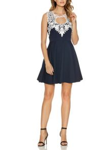 Navy Textured Crochet Neck Dress