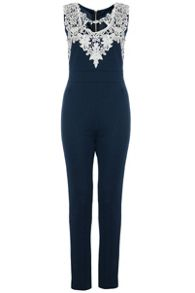 Navy Textured Crochet Neck Jumpsuit