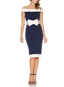 Quiz Navy Bow Bardot Midi Dress