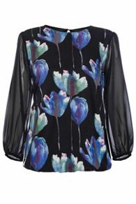 Quiz Black Flower Print Bubble Hem Top