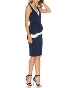 Quiz Navy Double Peplum Midi Dress