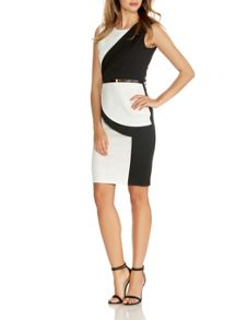 Quiz Black Contrast Peplum Belt Dress