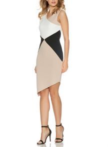 Cream Asymmetrical Bodycon Dress