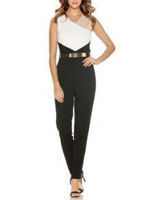 Cream Contrast Panel Belt Jumpsuit