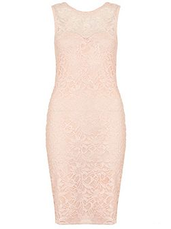 Blush Pink Glitter Lace Dress