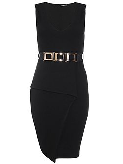 Black Fold Front Belt Peplum Dress