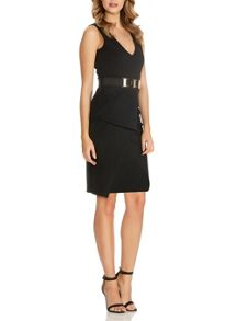 Quiz Black Fold Front Belt Peplum Dress