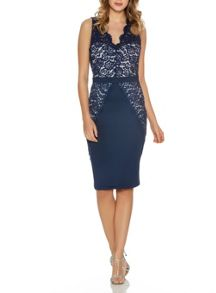 Quiz Navy Lace Cut Out Back Midi Dress