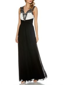 Quiz Black Chiffon Diamante Maxi Dress