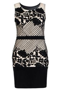 Quiz Black And Stone Crochet Dress