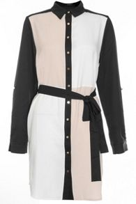 Quiz Cream And Black Crepe Shirt Dress