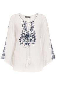 Quiz Cream And Navy Embroidered Tie Neck Top