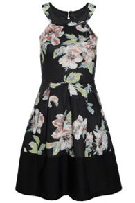 Quiz Black Floral Pleated Skater Dress